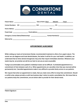 Cornerstone Dental New Patient Intake Form